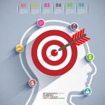 Infographics target brain vector design template — Stock Vector #56032975