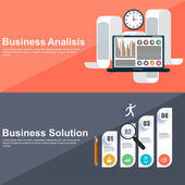 Flat design concepts for strategic analisis and business solution — Cтоковый вектор