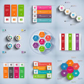 Set of abstract 3D digital business Infographic — Stock Vector