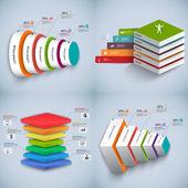 Satz von abstrakt 3d digital Business Infographik — Stockvektor