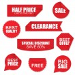 Set of red paper sale stickers on white background — Stock Vector #77899792