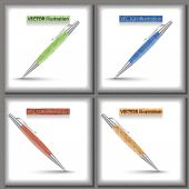 Set of four vector pen design. — Vector de stock