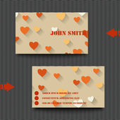 Business card template with love background. — Stock Vector