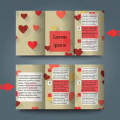 Brochure template with love background. — Stock Vector