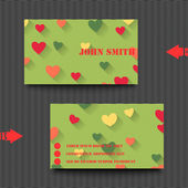 Business card template with love background. — Vetor de Stock