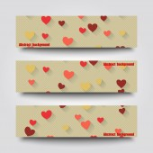 Set of banner templates with love background.  — Stock Vector