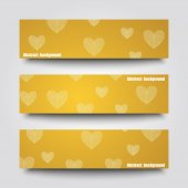 Set of banner templates with love background. — Stockvektor