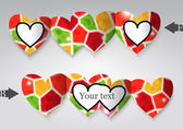 Cartão de modelo em forma de coração. — Stockvector