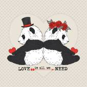 Pandas couple in love — 图库矢量图片
