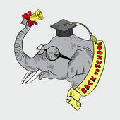 Elephant in academic cap — Vetorial Stock