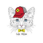 Kitten boy in cat with bow tie — Stockvektor