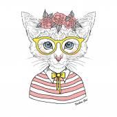 Kitty girl hipster in glasses — Stock Vector