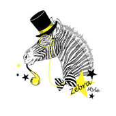 Zebra in tall hat — Stock Vector
