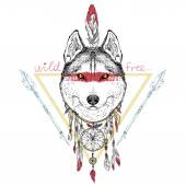 Native american wolf — Stock Vector