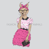 Cute hipster cat girl — Stock Vector