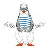Nautical penguin sailor — Stockvector