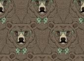 Fashion bear pattern — Stock Vector