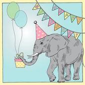 Birthday card with elephant — Stock Vector