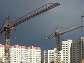 Construction cranes at resident area, Voronezh, Russia. — Stock Photo