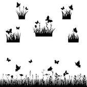 Meadows silhouette — Stock Vector