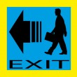 Exit emergency sign door with human figure, label, icon — Stock Vector #52591137