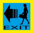 Exit emergency sign door with human figure, label, icon — Stock Vector #52591145