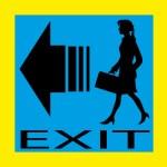 Exit emergency sign door with human figure, label, icon — Stock Vector