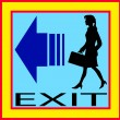 Exit emergency sign door with human figure, label, icon — Stock Vector #52591155