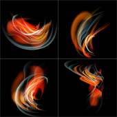 Set Burn flame fire vector abstract background with place for your text. — Stock Vector