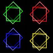 Conjunto de fundo quadrado de néon colorido com lugar para o seu texto. — Fotografia Stock