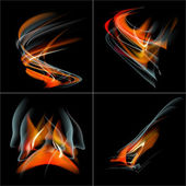 Set Burn flame fire  abstract background with place for your text. — Stock Photo