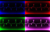 Set Colorful human heart normal sinus rhythm, electrocardiogram record. Bright and bold design with space for your text. — Stock Photo