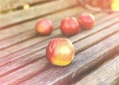 Fresh apples on bench — Stock Photo