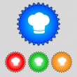 Chef hat sign icon. Cooking symbol. Cooks hat. Set colourful buttons Vector — Stock Vector #53355731