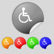 Disabled sign icon. Human on wheelchair symbol. Handicapped invalid sign. Set colourful buttons Vector — Stock Vector #53357317
