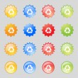 Processing icon. Flat modern Set colourful web buttons. Vector — Stock Vector #53359125