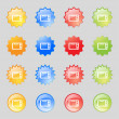 Microwave oven sign icon. Kitchen electric stove symbol. Set colourful buttons. Vector — Stock Vector #53359267