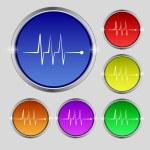 Cardiogram monitoring sign icon. Heart beats symbol. Set colourful buttons. Vector — Stock Vector #53359765