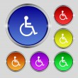 Disabled sign icon. Human on wheelchair symbol. Handicapped invalid sign. Set colourful buttons Vector — Stock Vector #53359881