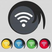 Wifi teken. wi-fi symbool. draadloos netwerk pictogram zone. kleur knoppen instellen vector — Stockvector