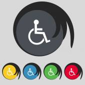 Disabled sign icon. Human on wheelchair symbol. Handicapped invalid sign. Set colourful buttons Vector — Stock Vector