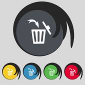 Recycle bin sign icon. Bins symbol. Set colourful buttons. Vector — Stock Vector