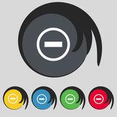 Eksi işareti simgesi. eksi simgesi. küçültme. renkli düğmeler ayarlayın. vektör — Stok Vektör