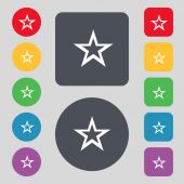 Star sign icon. Favorite button. Navigation symbol.Set colourful buttons. Vector — Stock Vector