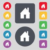 Ev işareti simgesi. ana sayfa düğmesi. gezinti simgesi. renkli düğmeler ayarlayın. vektör — Stok Vektör