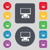 Computer widescreen monitor sign icon. Set colourful buttons. Modern UI website navigation. — Stock Vector