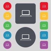Icona del segno di computer portatile. pc portatile con simbolo grafico. monitoraggio. impostare i pulsanti colorati. Vector — Vettoriale Stock