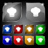 Chef hat sign icon. Cooking symbol. Cooks hat. Set colourful buttons Vector — Stock Vector