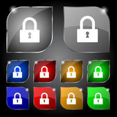 Lock sign icon. Locker symbol. Set colourful buttons. Vector — Stock Vector