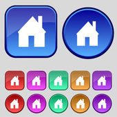 Home sign icon. Main page button. Navigation symbol. Set colourful buttons. Vector — Vector de stock